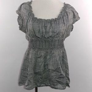 Studio Womans Blouse Top Size Medium Short Sleeve